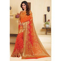 Orange Designer Printed Saree
