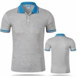Cotton L Men's Grey Polo T-shirt