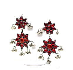 Star Drop Brass Dangle Afghani Statement Earring