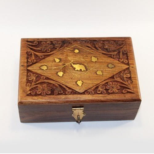 Teak Wood Rectangle Designer Wooden Jewelry Box Rs 120 piece ID