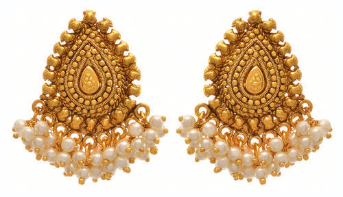 Gold Jfl Traditional Plated Pearls Designer Earrining Size Ht