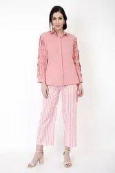 Pink Shirt With Pleated Sleeves And Striped Pants