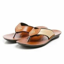 Mens Beige Tan Synthetic Leather PU Slipper