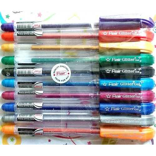 Plastic Flair Xtra Sparkle Gel Pen, Packaging Type: Packet