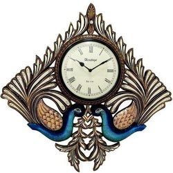 Wooden Kite Shape Double Peacock Wall Clock