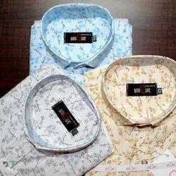 Slim Fit Blue Unique Printed Cotton Shirts
