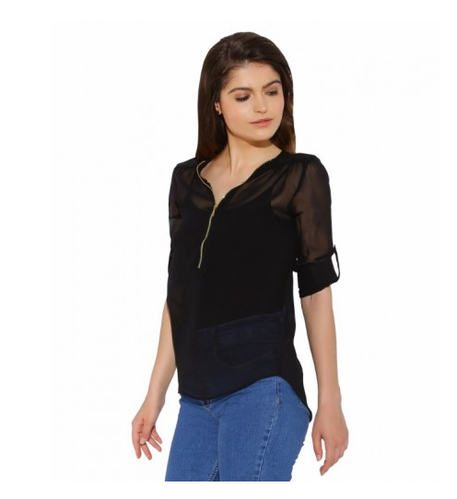 Medium And XS Black Zip Georgette Top