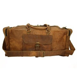 New Era Dark Brown 24 Pure Leather Travel Sports Gym Duffle Bag For Men 9126d2cf3c7f3
