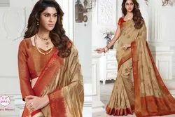 Fawn Dupion Silk South Indian Saree Blouse