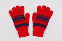 Striped Red Woolen Hand Gloves