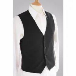 Black Cotton Mens Formal Wear Waistcoat, Size: M-L-XL