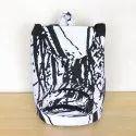 Natural Cotton Fabric Printed  Backpack Bag