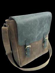Flap Closure Leather Messenger Bag