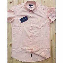 Full Sleeve Mens Peach Color Plain Casual Shirt
