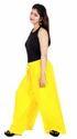 Rayon Yellow Palazzo For Girls, Length: 42 Inch