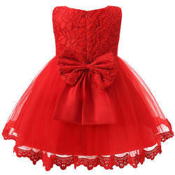 Party Wear Red Baby Girls Designer Frock Dress