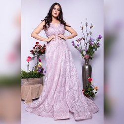 Net Embroidered  Baby Pink Gown Bride Side Bride Evening Gown