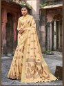 Cream Banarasi Jute Linen Saree  With Blouse Piece