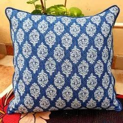 Micro Cotton Blue and White Indigo Printed Cushion Covers, Size: 16x16 Inch