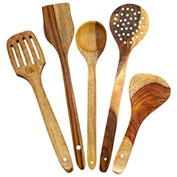 Pleasing Handmade Wooden Non Stick Serving And Cooking Spoon Kitchen Tools Utensil Set Of 5 Download Free Architecture Designs Grimeyleaguecom