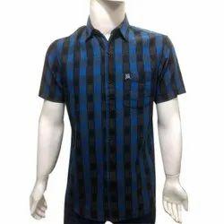 Mens Poplin Check Half Sleeve Shirt, Size: S, M and L