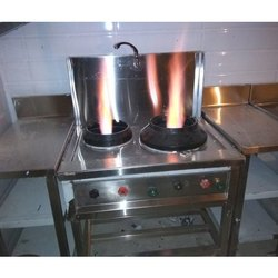 2 Stainless Steel Two Burner Chinese Range, for Kitchen