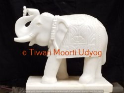 Elephant Statue In White Marble