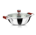 Avonware Whole Body Clad Stainless Steel 22cm Triply Wok With Glass Lid - 2.1 Liters