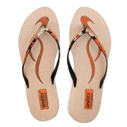 Women Orange Golden PVC Fashion Slippers
