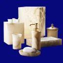 High Quality Polyresin White Marble Bathroom Set