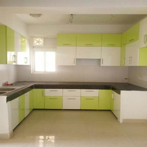 Modern Green And White Modular Kitchen Cabinets & Modern Green And White Modular Kitchen Cabinets Rs 1500 /square ...