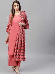 Straight Kurta With Dot Printed Palazzo
