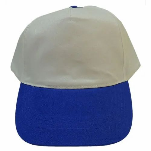 White And Royal Blue 100% Polyester Stylish Promotional Cap, For Promotions And Sports