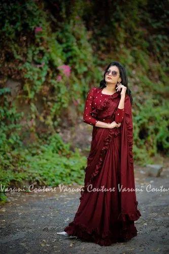 71a2b7e50a Richa Fashion World Vichitra Silk With Nice Ruffle Saree, Plain ...
