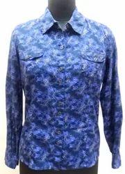 Blue Women Printed Shirt