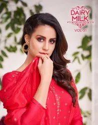 Angroop Plus Dairy Milk Vol-31 Chanderi Cotton Casual Running Wear Suits