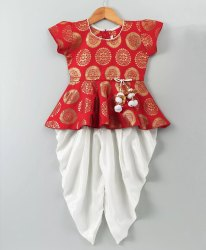 Ethnic Doll Jacquard Dhoti Peplum Top- Red White