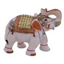 Marble Elephant with Gold Miniature Artistic Work