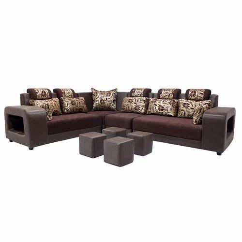 Zikrau0027 S Marble Brown Sal Wood 6 Seater L Shaped Sofa Set