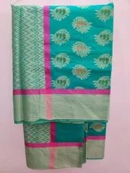Cotton Green Banarsi Saree, 6.3 m (with blouse piece)