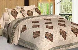 Ajrak Print Cotton Double Bedsheet