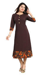 Brown Anarkali Crepe Kurti