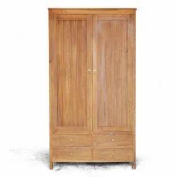 Solid Wood Brown Double Door Wooden Wardrobe, for Home