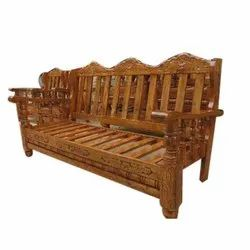 Brown Wooden Three Seater Sofa