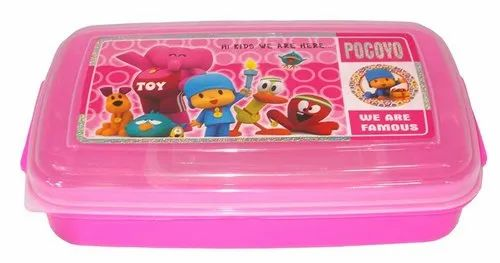 9b0302a58735 Kotak Sales Hotclub Kids Food Cartoon Print Lunchbox Container With 2in1  Spoon Fork & Container