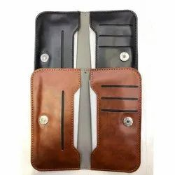 Brown, Black Plain Universal Leather Mobile Pouch