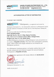 Whirlpower Enterprise Distributor Certificate