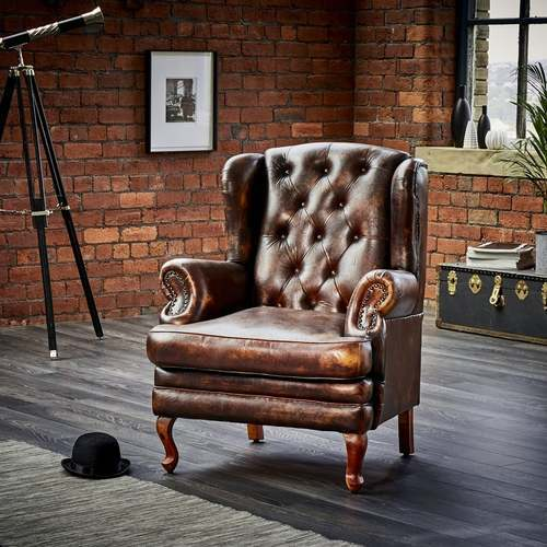 Leather And Wooden Chesterfield Wing Back Leather Armchair Rs 18000