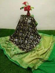 Fatima Fabrics 6.4 Wedding Wear Banarasi Semi Katan Handloom Silk Saree With Blouse