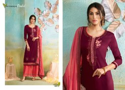 Poshak Vol-2 Kessi Jam Silk With Diamond Work And Rayon Palazzo Suits With Dupatta